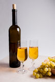 άσπρο κρασί σταφυλιών Άσπρο κρασί στα γυαλιά, μπουκάλι του κρασιού και Στοκ Φωτογραφία