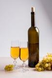 άσπρο κρασί σταφυλιών Άσπρο κρασί στα γυαλιά, μπουκάλι του κρασιού και Στοκ εικόνες με δικαίωμα ελεύθερης χρήσης