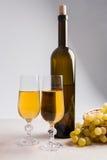 άσπρο κρασί σταφυλιών Άσπρο κρασί στα γυαλιά, μπουκάλι του κρασιού και Στοκ Εικόνα