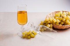 άσπρο κρασί σταφυλιών Άσπρο κρασί στο γυαλί και σταφύλια στο ελαφρύ μ Στοκ εικόνα με δικαίωμα ελεύθερης χρήσης