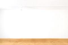 Άσπρο κύβων κενό κενών τοίχων γκαλεριών τέχνης εσωτερικό σχέδιο παρκέ πατωμάτων δωματίων ξύλινο Στοκ Εικόνες