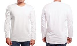Άσπρο μακρύ Sleeved πρότυπο σχεδίου πουκάμισων Στοκ Φωτογραφία