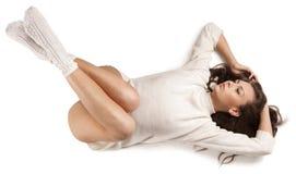 άσπρο μαλλί πουλόβερ κορ& στοκ εικόνες