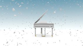 Άσπρο μεγάλο πιάνο με τις χιονοπτώσεις φιλμ μικρού μήκους