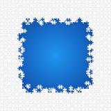 Άσπρο μπλε κομματιών γρίφων πλαισίων - διανυσματικό τορνευτικό πριόνι Στοκ Εικόνα