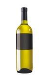 Άσπρο μπουκάλι κρασιού με τη μαύρη ετικέτα Στοκ Εικόνα
