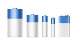 Άσπρο μπλε Αντιαεροπορικό Πυροβολικό μπαταριών, AA, Γ, Δ, PP3, 9 βολτ απεικόνιση αποθεμάτων