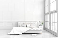 Άσπρο ντεκόρ δωματίων κρεβατιών στην ευτυχή ημέρα Στοκ Φωτογραφία