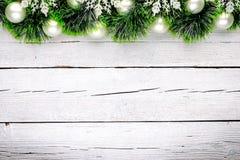 Άσπρο ξύλινο υπόβαθρο Χριστουγέννων Στοκ Εικόνα