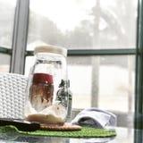Άσπρο παράθυρο δοχείων ζάχαρης στοκ εικόνες με δικαίωμα ελεύθερης χρήσης