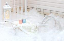 Άσπρο παλαιό εκλεκτής ποιότητας έλκηθρο με τη γούνα που στέκεται κοντά στο σπίτι στο χιόνι το χειμώνα οικολογικός ξύλινος διακοσμ Στοκ Εικόνες