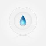 Άσπρο πιάτο και μπλε πτώση ελεύθερη απεικόνιση δικαιώματος