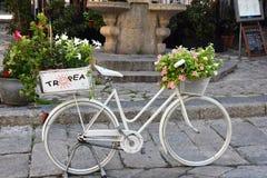 Άσπρο ποδήλατο με τα λουλούδια σε Tropea στοκ εικόνα