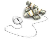 Άσπρο ποντίκι υπολογιστών με τα τραπεζογραμμάτια μετρητών δολαρίων Στοκ Φωτογραφίες