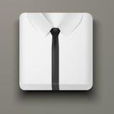 Άσπρο πουκάμισο εικονιδίων ασφαλίστρου και μαύρος δεσμός. Στοκ Φωτογραφία