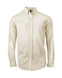 Άσπρο πουκάμισο τα μακριά μανίκια που απομονώνονται με Στοκ Εικόνες