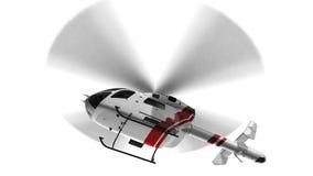 Άσπρο πολιτικό ελικόπτερο που απομονώνεται κατά την πτήση στο άσπρο υπόβαθρο Στοκ Φωτογραφίες