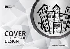 Άσπρο πρότυπο κάλυψης για την επιχειρησιακή βιομηχανία, ακίνητη περιουσία, buildin διανυσματική απεικόνιση
