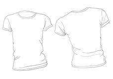 Άσπρο πρότυπο μπλουζών γυναικών Στοκ Εικόνες