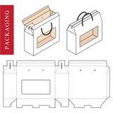 Άσπρο πρότυπο συσκευασίας λαβών που απομονώνεται ελεύθερη απεικόνιση δικαιώματος