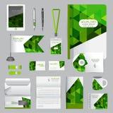 Άσπρο πρότυπο ταυτότητας με τα στοιχεία origami Διανυσματική επιχείρηση ST Στοκ Φωτογραφίες