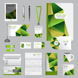 Άσπρο πρότυπο ταυτότητας με τα στοιχεία origami Διανυσματική επιχείρηση ST Στοκ Εικόνα