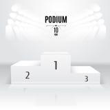 Άσπρο πρότυπο 3Dpodium Θέση έκθεσης Οριζόμενος μετά από απεικόνιση αποθεμάτων