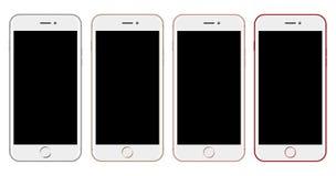 Άσπρο πρότυπο Smartphone στο λευκό ελεύθερη απεικόνιση δικαιώματος