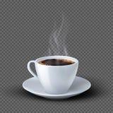 Άσπρο ρεαλιστικό φλυτζάνι καφέ με τον καπνό που απομονώνεται στο διαφανές υπόβαθρο ελεύθερη απεικόνιση δικαιώματος