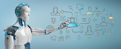 Άσπρο ρομπότ που ελέγχει την κοινωνική διεπαφή εικονιδίων δικτύων διανυσματική απεικόνιση