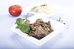 Άσπρο ρύζι με το κρέας Στοκ Φωτογραφία