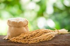 Άσπρο ρύζι burlap στο σάκο στοκ φωτογραφίες