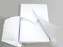 Άσπρο σαφές έγγραφο γραφείων για το γκρίζο υπόβαθρο Στοκ Εικόνα