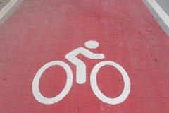 Άσπρο σημάδι παρόδων ποδηλάτων Στοκ εικόνα με δικαίωμα ελεύθερης χρήσης