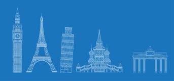 Άσπρο σκίτσο ορόσημων στο μπλε διανυσματική απεικόνιση