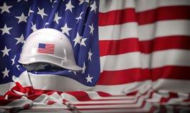 Άσπρο σκληρό καπέλο που βάζει πέρα από την ΑΜΕΡΙΚΑΝΙΚΗ σημαία Κατασκευή και απασχόληση στην Ηνωμένη ΗΠΑ έννοια, Εργατική Ημέρα διανυσματική απεικόνιση