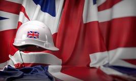Άσπρο σκληρό καπέλο που βάζει πέρα από τη βρετανική σημαία Κατασκευή και απασχόληση στην Ηνωμένη UK έννοια, Εργατική Ημέρα διανυσματική απεικόνιση