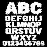 Άσπρο στερεωμένο τρομακτικό αλφάβητο διανυσματική απεικόνιση
