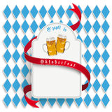 Άσπρο στρογγυλό μακρύ έμβλημα του Μόναχου Oktoberfest Στοκ Φωτογραφίες