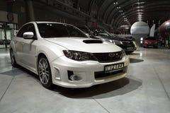 Άσπρο συντονισμένο αυτοκίνητο: Subaru Impreza Στοκ φωτογραφίες με δικαίωμα ελεύθερης χρήσης