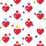 Άσπρο σχέδιο με την κόκκινα καρδιά και τα σημεία ελεύθερη απεικόνιση δικαιώματος