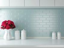 Άσπρο σχέδιο κουζινών Στοκ Εικόνα