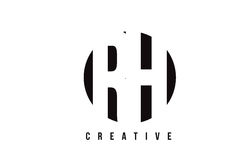 Άσπρο σχέδιο λογότυπων επιστολών RH Ρ Χ με το υπόβαθρο κύκλων Στοκ φωτογραφία με δικαίωμα ελεύθερης χρήσης
