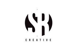 Άσπρο σχέδιο λογότυπων επιστολών SR S Ρ με το υπόβαθρο κύκλων απεικόνιση αποθεμάτων