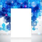 Άσπρο σχεδιάγραμμα σελίδων για την επιχειρησιακή παρουσίασή σας, μπλε σκηνικό. Στοκ Φωτογραφίες