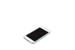 Άσπρο σύγχρονο έξυπνο τηλέφωνο στο διαστημικό άσπρο υπόβαθρο για το κείμενο με το ψαλίδισμα της πορείας Στοκ Εικόνες