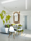 Άσπρο σύγχρονο εσωτερικό σχέδιο κουζινών Στοκ Φωτογραφίες