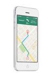 Άσπρο σύγχρονο κινητό έξυπνο τηλέφωνο με τη ναυσιπλοΐα app ΠΣΤ χαρτών στο τ Στοκ φωτογραφία με δικαίωμα ελεύθερης χρήσης