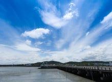 Άσπρο σύννεφο λουλακιού ουρανού μπλε, βαθύς μπλε ουρανός Στοκ Εικόνα