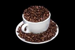 Άσπρο σύνολο κουπών καφέ των φασολιών coffe Στοκ εικόνες με δικαίωμα ελεύθερης χρήσης